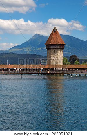 Lucerne, Canton of Lucerne / Switzerland - July 03 2016: View of the picturesque old city of Lucerne. Lucerne is important historical and cultural city in the german speaking part of Switzerland.