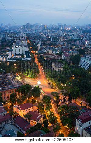 Aerial Skyline View Of Crossroads Le Lai - Ly Thai To - Ngo Quyen Street, Hoan Kiem District. Hoan K