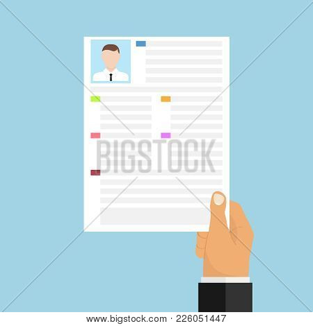 The Hand Holds A Resume. To Get A Job. Provide A Resume. Flat Design, Vector Illustration, Vector.
