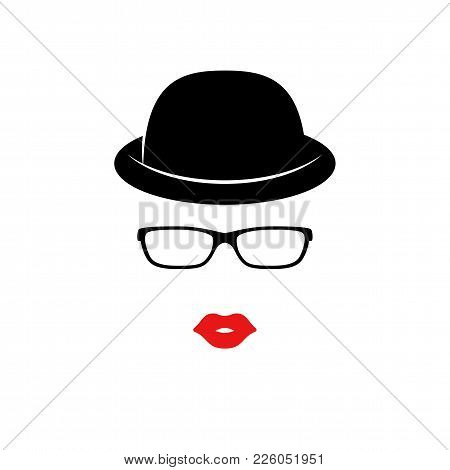 Retro Lady In The Black Elegant Hat. Woman Face. Boutique Concept. Vector