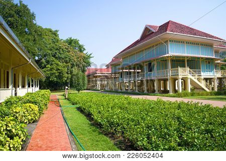 Hua Hin, Thailand - January 05, 2014: Sunny Day At The Teak Palace (mrigadayavan Palace) Of King Ram