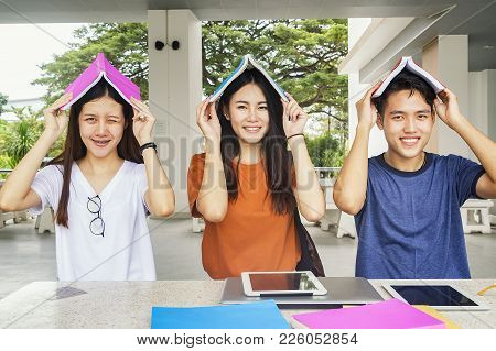 Group Of Young Asian Studying In University Sitting During Lecture Education Students College Univer