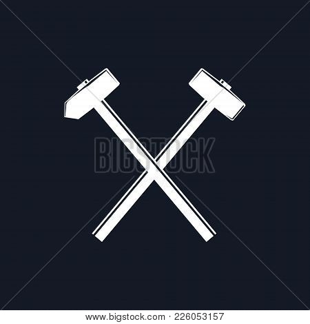 Silhouette Of A Crossed Hammer And Sledgehammer On A Black Background, Hand Industrial Tool , Vector