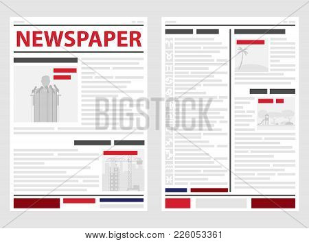 The Newspaper, The First And Last Pages Of The Newspaper. News Line, News. Flat Design, Vector Illus