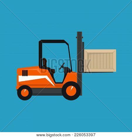 Forklift Truck Isolated On A Blue Background, Orange Vehicle Forklift Picks Up A Box, Vector Illustr