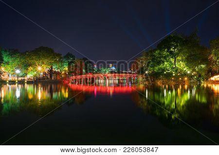 Hoan Kiem Lake At Night With Old The Huc Bridge On National Celebration Day