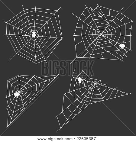 White Web With A Spider On A Black Background. A Spider Weaves A Spider Web. Flat Design, Vector Ill