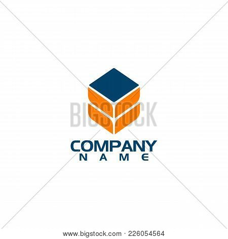 hexagon cube 3d sector group logo package box arrow geometrical logotype symmetry grid electronic logistic symbol transportation direction orange template blue delivery express speed isolated on white logo. poster