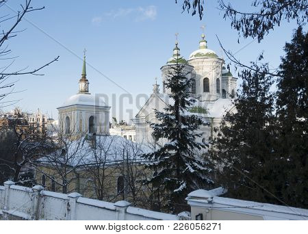 Ancient Pokrovskaya Church In Kiev On The Podol. It Was Built In 1772 Year. Winter Sunny Day