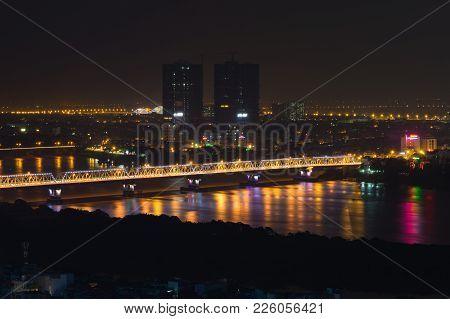 Aerial View Of Long Bien Bridge At Night. Hanoi Skyline Cityscape
