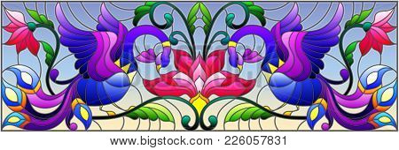 Illustration In Stained Glass Style With Abstract Birds And Flowers On A Sky Background , Mirror, Ho