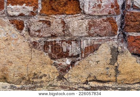 The Old Ruined Wall. Ruined Wall. Old Red Brick. 19th Century. A Crack In The Wall. The Gap Between