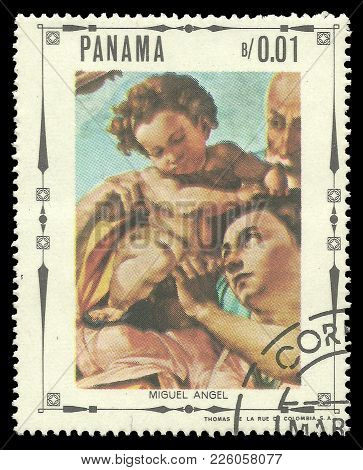 Panama - Circa 1968: Stamp Printed By Panama, Color Edition On Art, Shows Religious Paintings By Mic