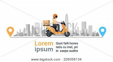 Motorcycle Delivery Service, Man Courier Riding Scooter With Box Parcel Over Big Silhouette City Bac