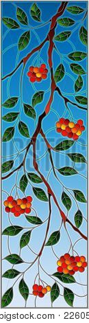 Illustration In Stained Glass Style With A Branch Of Mountain Ash, Clusters Of Berries And Leaves Ag