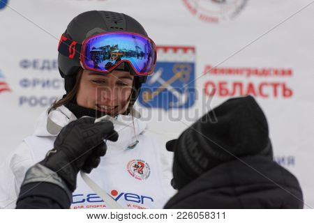 KRASNOE OZERO, LENINGRAD REGION, RUSSIA - FEBRUARY 1, 2018: Frida Lundblad of Sweden got silver medal during award ceremony of dual mogul competitions during Freestyle Europa Cup