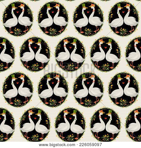 Gander Wearing A Top Hat And A Goose In A Hat With Flowers. Geese In Hats. Seamless Background Patte
