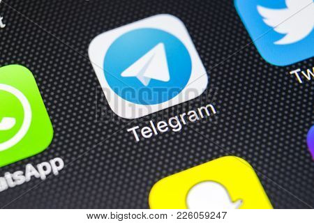 Sankt-petersburg, Russia, February 9, 2018: Telegram Application Icon On Apple Iphone X Screen Close