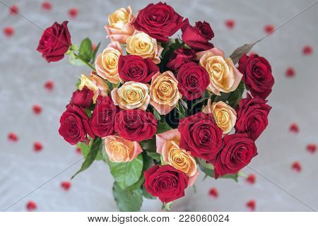 Bouquet Of Roses Of Two Colors For Beloved, Many Red Hearts, Top View, Symbol Of Love,valentine's Fe