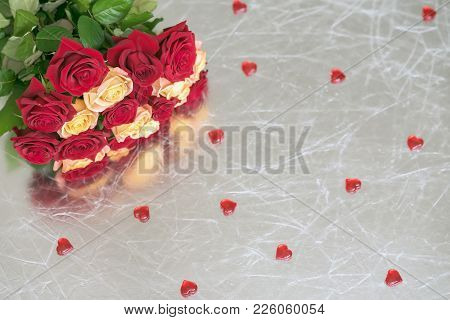 Bouquet Of Roses Of Two Colors For Beloved, Many Red Hearts, Silver Background, Symbol Of Love,valen