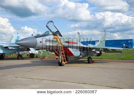 Zhukovsky, Russia - September 17, 2017: Mig-29smt Fighter (rf-90858) Close-up. Maks-2017 Airshow