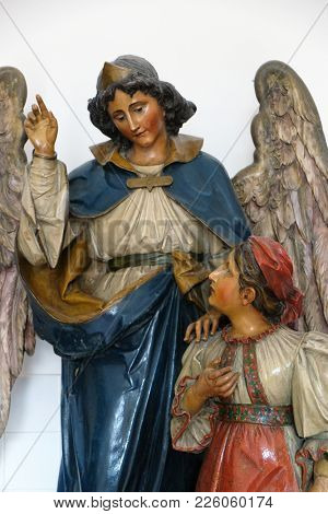 ZAGREB, CROATIA - APRIL 07: Guardian Angel in the convent of the Sisters of Charity of Saint Vincent de Paul in Zagreb April 07, 2015