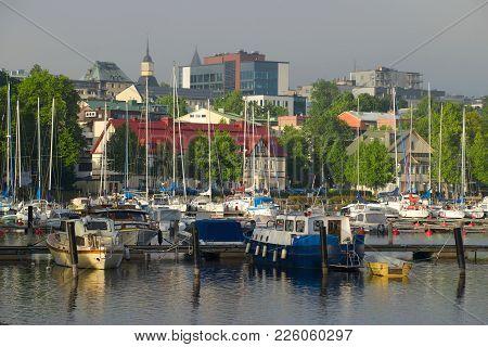 Lappeenranta, Finland - June 12, 2017: A Foggy June Morning In The City Marina
