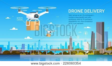 Drone With Boxes Fly Over Modern City Background, Air Transportation Delivery Concept Flat Vector Il
