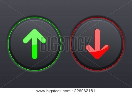 Up And Down Round Black Buttons With Green And Red Arrows. Vector Illustration