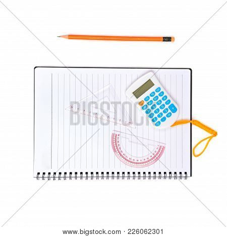 School And Office Supplies Isolated On White Background. Flat Lay,top View.