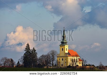 Nice Ancient Church. Troubsko - South Moravia - Czech Republic. Church Of The Assumption.