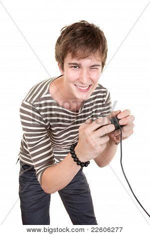 Teen Plays Video Game