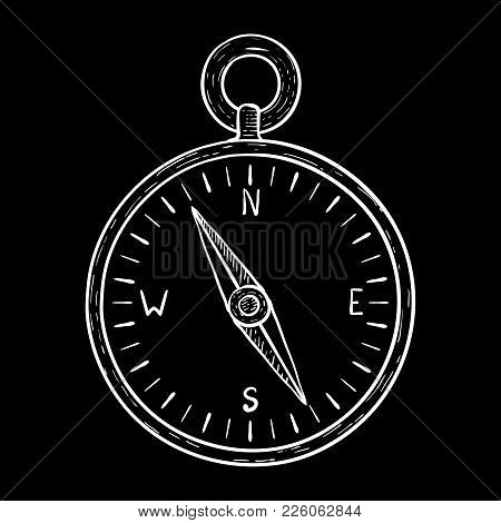 Compass. White Outline Drawing On Black Background. Vector Illustration