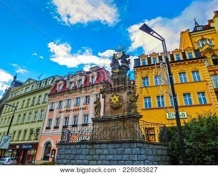 Karlovy Vary, Cszech Republic - January 01, 2018: Pillar Of The Holy Trinity Or Plague Pillar, Karlo