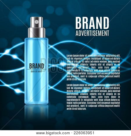 Cosmetic Ads Template. Spray Bottle On A Glitter Background With Glowing Lines. 3d Illustration. Des