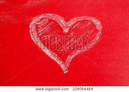 Hand Painted Chalk Heart On Red Background As Symbol Of Love, Valentine Day.