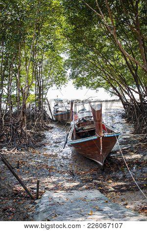 Long Boat And Tropical Beach In Island Railay Krabi. Thailand.