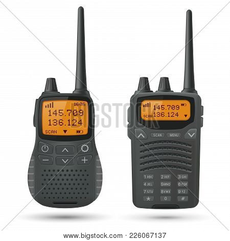 Radio Transceivers. Black Rectangle Portable Devices With Yellow Screen And Antenna. Vector 3d Illus