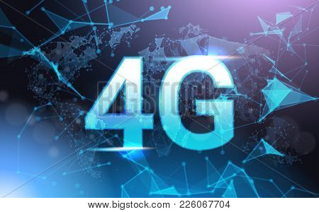 4g Internet Connection Speed Sign Over Futuristic Low Poly Mesh Wireframe On Blue Background Vector