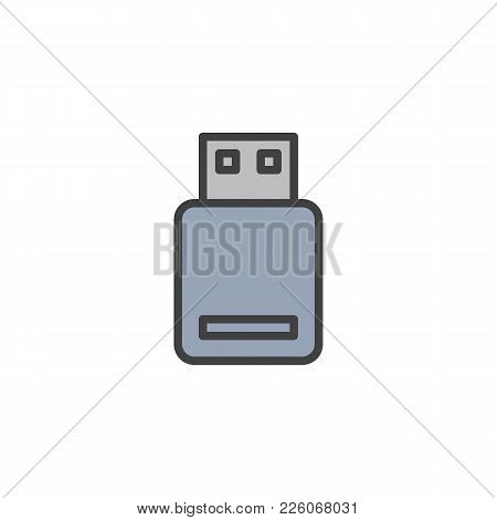 Usb Flash Drive Filled Outline Icon, Line Vector Sign, Linear Colorful Pictogram Isolated On White.