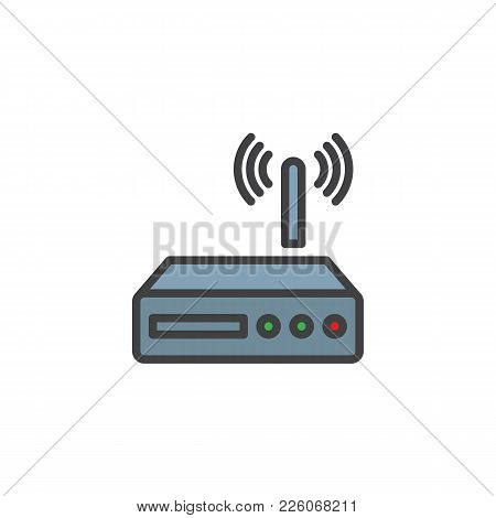 Wi-fi Router Filled Outline Icon, Line Vector Sign, Linear Colorful Pictogram Isolated On White. Wir