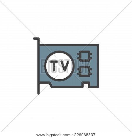 Computer Video Card Filled Outline Icon, Line Vector Sign, Linear Colorful Pictogram Isolated On Whi