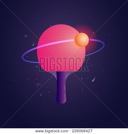 Racket For Ping Pong With Ball Like A Sputnik Vector Illustration. Poster Template For Club Of Table
