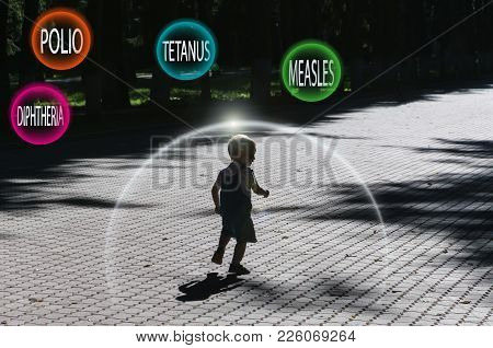 Protection Against Vaccination. A Little Boy Runs Through The Park. Protective Transparent Dome Of T