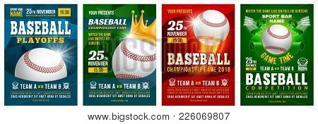 Set Of Baseball Posters With Baseball Ball. Baseball Competition Game Advertising. Sport Event Annou