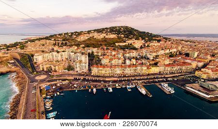 Aerial View Of The City Of Sete, France, With Mont Saint-clair And Port. Photo Taken At Sunrise.