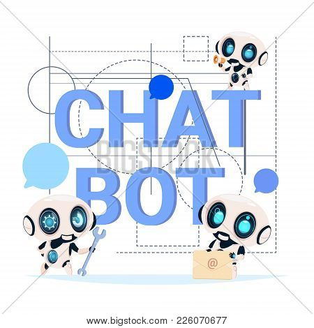 Chat Bot Service Banner Modern Technology Of Technical Support Chatter Robot Concept Flat Vector Ill