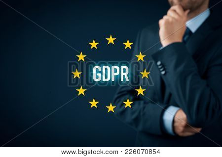 Gdpr (general Data Protection Regulation) Concept. Businessman Or It Technologist Think About Gdpr I