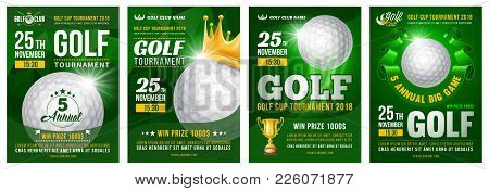 Set Of Golf Posters With Golf Ball. Golf Tournament Advertising. Sport Event Announcement. Place You
