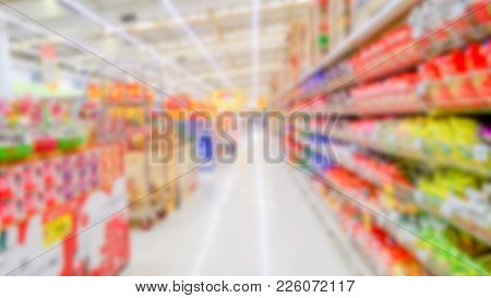 Abstract Blurred Supermarket - Blurred Background Of Colorful And Freshness Modern Retail, Departmen